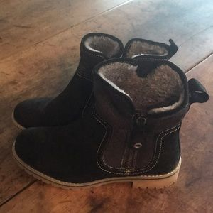 Eric Michael Black Shearling Lined Suede Boots